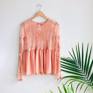 Tops - Peplum Sheer Lace Sheer Embroidered Blouse Peach S